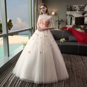 Vintage Outdoor / Garden Champagne Wedding Dresses 2017 Ball Gown High Neck 1/2 Sleeves Backless Appliques Flower Rhinestone Floor-Length / Long