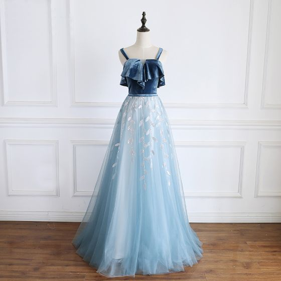 Modern / Fashion Pool Blue Prom Dresses 2019 A-Line / Princess Suede Spaghetti Straps Sequins Lace Flower Sleeveless Backless Floor-Length / Long Formal Dresses