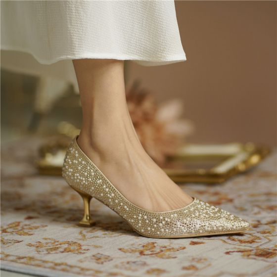 Sparkly Gold Pearl Rhinestone Wedding Shoes 2020 Leather 6 cm Stiletto Heels Pointed Toe Wedding Pumps