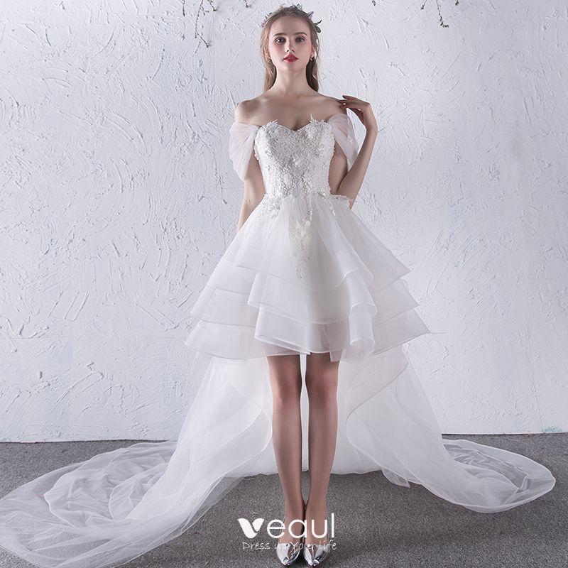 chic belle blanche plage robe de mari e 2018 robe boule. Black Bedroom Furniture Sets. Home Design Ideas