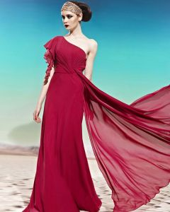One Shoulder One Side Short Puff Sleeve Beading Ruffle Backless Floor Length Charmeuse Woman Evening Dress