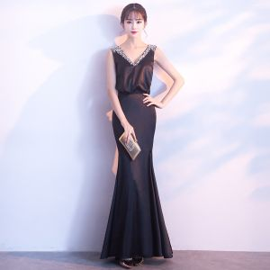 Sexy Black Evening Dresses  2017 Trumpet / Mermaid Beading Sequins V-Neck Backless Sleeveless Ankle Length Formal Dresses