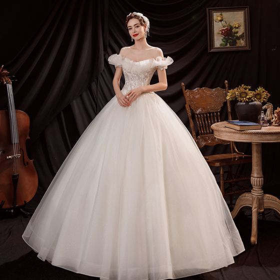Affordable Ivory Wedding Dresses 2021 Ball Gown Off-The-Shoulder Beading Sequins Sleeveless Backless Floor-Length / Long Wedding