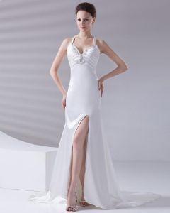Bretelles Perles Etage Longueur Charmeuse Femme Robe De Mariée Fourreau Volants