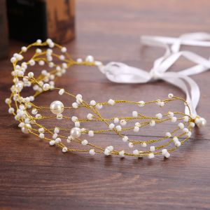 Elegant Guld Pandebånd Hårpynt 2020 Legering Snøre Beading Perle Hårpynt Bryllup Accessories