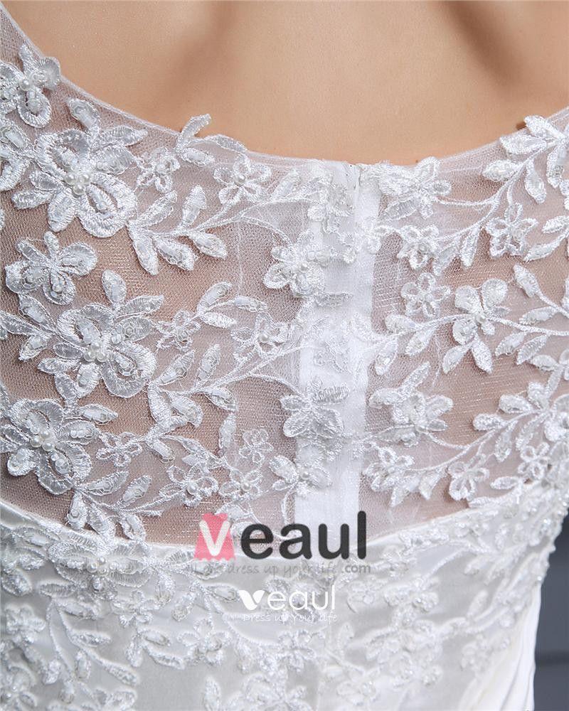 Bateau Applique Pleated Bowknot Floor Length Lace Woman Mermaid Wedding Dress