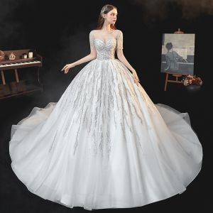 Best Ivory Bridal Wedding Dresses 2020 Ball Gown See-through Square Neckline Short Sleeve Backless Beading Sequins Cathedral Train Ruffle