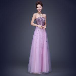 Amazing / Unique Lavender Evening Dresses  2017 A-Line / Princess Strapless Tulle Sequins Beading Backless Evening Party Party Dresses