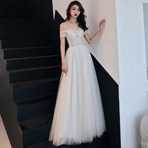 Elegant Ivory Prom Dresses 2019 A-Line / Princess Off-The-Shoulder Lace Flower Rhinestone Short Sleeve Backless Floor-Length / Long Formal Dresses