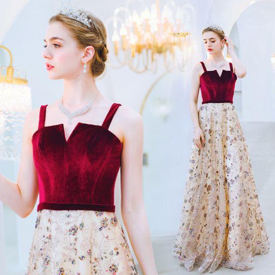 Charming Champagne Evening Dresses  2019 A-Line / Princess Square Neckline Suede Beading Sequins Sleeveless Backless Floor-Length / Long Formal Dresses