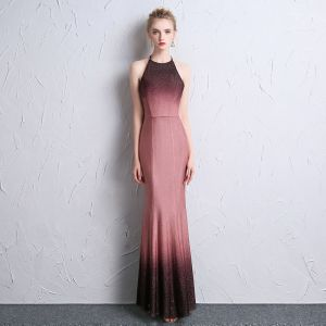 Modern / Fashion Gradient-Color Evening Dresses  2018 Trumpet / Mermaid Halter Zipper Backless Polyester Evening Party Formal Dresses