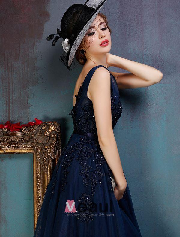 Glamourösen Backless Dunklen Ballkleid Spitze Parteikleid Blau Mit Pailletten