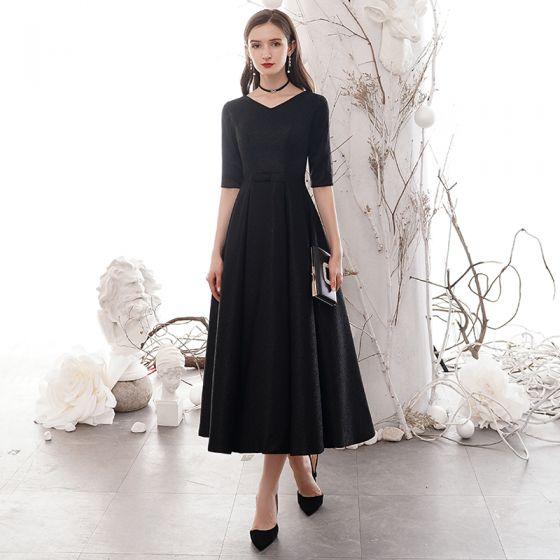 Prisvärd Svarta Hemkomst Studentklänningar 2020 Prinsessa V-Hals 1/2 ärm Rosett Skärp Glittriga / Glitter Polyester Te-längd Formella Klänningar