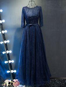 Glitter Ballkleider 2017 Perlen Schaufel Ausschnitt Marineblau Spitzenkleid Mit Schleife Schärpe