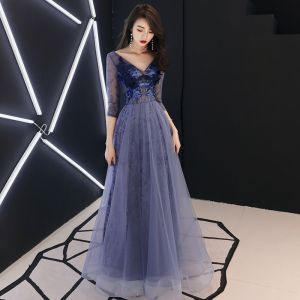 Illusion Royal Blue Evening Dresses  2019 A-Line / Princess V-Neck 3/4 Sleeve Appliques Pierced Lace Floor-Length / Long Ruffle Backless Formal Dresses