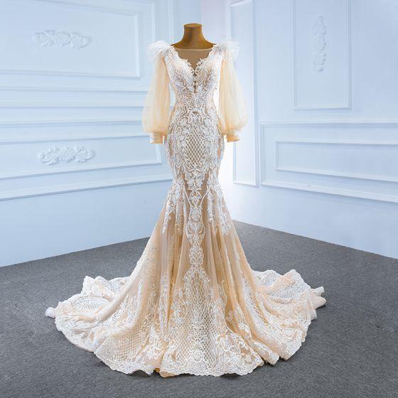 Lyx Champagne Brud Bröllopsklänningar 2020 Trumpet / Sjöjungfru Genomskinliga Fyrkantig Ringning Pösigt Långärmad Halterneck Appliqués Spets Fjäder Svep Tåg Ruffle