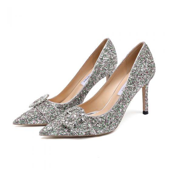 Scintillantes Argenté Faux Diamant Paillettes Cuir Chaussure De Mariée 2021 9 cm Talons Aiguilles À Bout Pointu Mariage Escarpins Talons Hauts