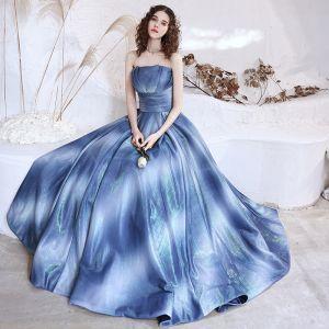 Fint Ocean Blå Balklänningar 2021 Prinsessa Axelbandslös Ärmlös Glittriga / Glitter Polyester Långa Ruffle Halterneck Formella Klänningar