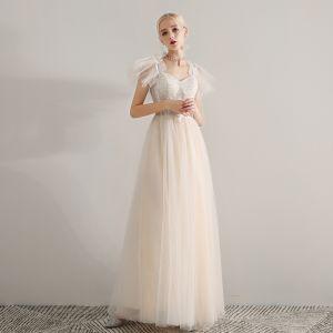 Elegant Champagne Ballkjoler 2019 Prinsesse Skuldre Uten Ermer Appliques Blonder Beading Lange Buste Ryggløse Formelle Kjoler