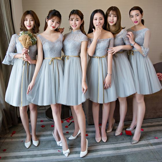 Affordable Grey Summer Bridesmaid Dresses 2018 A Line Princess Sash Short Ruffle Backless Wedding Party