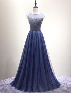 Robe De Bal Brillant 2016 Corset Design Beading Sequins Bleu Marine Robe Longue