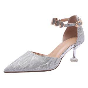 Charmant Zilveren Bruidsschoenen 2020 Pailletten Enkelband 6 cm Naaldhakken / Stiletto Spitse Neus Huwelijk Sandalen