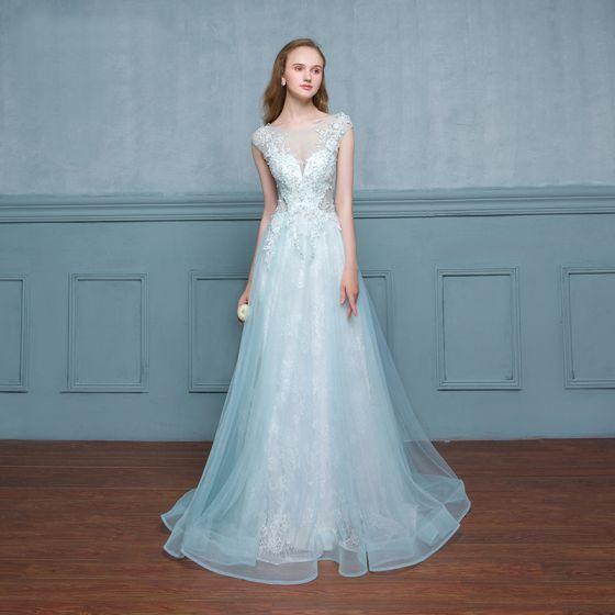 97ee31e95 Chic   Beautiful Pool Blue Evening Dresses 2017 A-Line   Princess Lace  Sequins Flower Scoop Neck Zipper Up ...