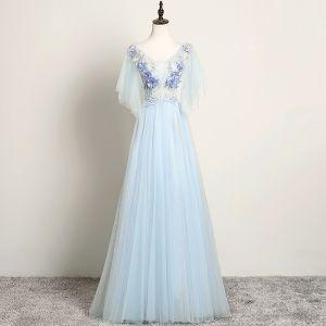 Schöne Himmelblau Abendkleider 2019 A Linie V-Ausschnitt Perle Strass Spitze Blumen Kurze Ärmel Rückenfreies Lange Festliche Kleider