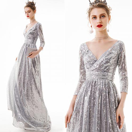 Affordable Silver Sequins Evening Dresses  2020 A-Line / Princess V-Neck 3/4 Sleeve Floor-Length / Long Backless Formal Dresses