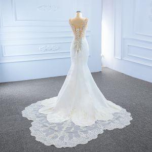 High-end White Satin Bridal Wedding Dresses 2020 Trumpet / Mermaid Deep V-Neck Sleeveless Backless Appliques Lace Beading Split Front Court Train