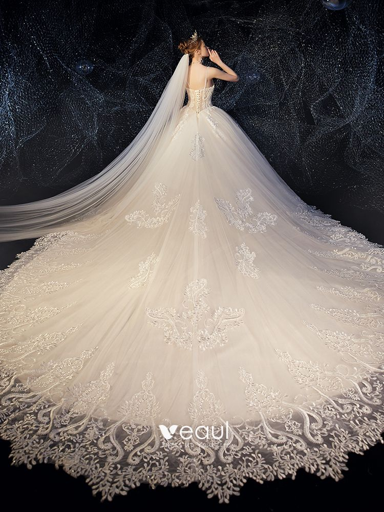 High-end Champagne Wedding Dresses 2019 A-Line / Princess Spaghetti Straps Beading Crystal Lace Flower Sleeveless Backless Royal Train