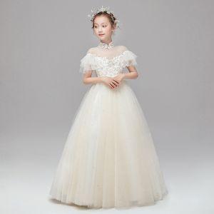 Vintage Szampan Sukienki Dla Dziewczynek 2020 Suknia Balowa Przezroczyste Wysokiej Szyi Kótkie Rękawy Aplikacje Z Koronki Perła Szarfa Długie Wzburzyć