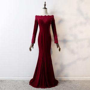 Elegant Burgundy Evening Dresses  2019 Trumpet / Mermaid Lace Flower Square Neckline Beading Crystal Sequins Suede Long Sleeve Floor-Length / Long Formal Dresses
