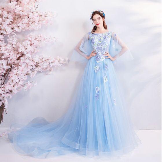 Eleganckie Błękitne Sukienki Wieczorowe 2018 Princessa Kwadratowy Dekolt 3/4 Rękawy Haftowane Aplikacje Z Koronki Rhinestone Trenem Kaplica Wzburzyć Bez Pleców Sukienki Wizytowe