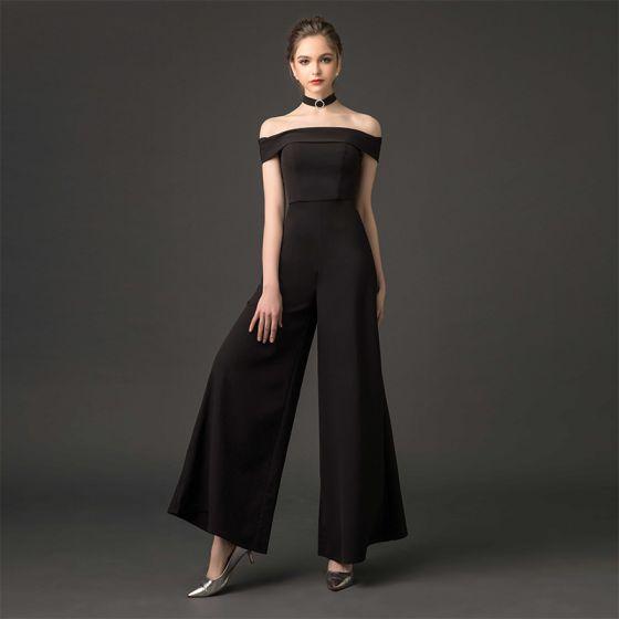 Mode Sorte Buksedragt 2019 Off-The-Shoulder Kort Ærme Halterneck Ankel Længde Kjoler