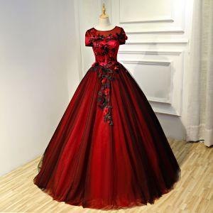Piękne Burgund Sukienki Na Bal 2017 Suknia Balowa Aplikacje Wycięciem Bez Pleców Kótkie Rękawy Długie Sukienki Wizytowe