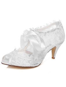 Mooie Kant Trouwschoenen Naaldhakken Witte Bruids Enkellaarzen Peep Toe