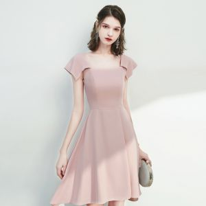 Hermoso Rosa Clara de fiesta Vestidos de graduación 2020 A-Line / Princess Escote Cuadrado Sin Mangas Sin Espalda Por La Rodilla Vestidos Formales