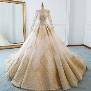Luxury / Gorgeous Champagne Wedding Dresses 2018 Ball Gown U-Neck Pierced Long Sleeve Backless Pearl Beading Appliques Lace Ruffle Cathedral Train