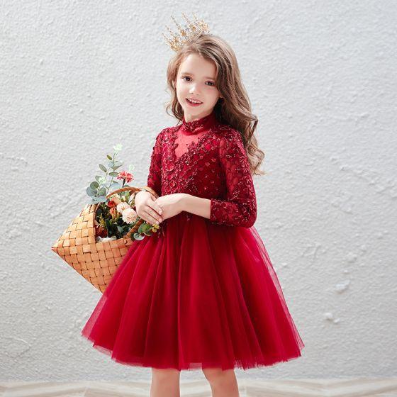 Vintage Rot Geburtstag Blumenmädchenkleider 2020 Ballkleid Stehkragen 3/4 Ärmel Applikationen Spitze Pailletten Perlenstickerei Kurze Rüschen