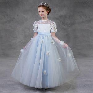 Chic / Belle Bleu Ciel Percé Robe Ceremonie Fille 2018 Princesse Encolure Dégagée Manches Courtes Appliques Fleurs Artificielles Perle Ceinture Longue Volants Dos Nu Robe Pour Mariage