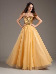 Fashion Yarn Sequins Sweetheart Floor Length Prom Dress