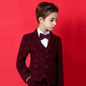 Mode Bordeaux Tachetée Polyester Costumes De Mariage pour garçons 2020