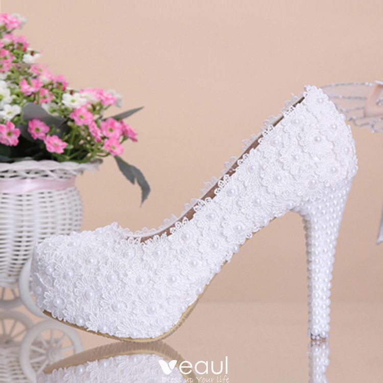 Chic / Beautiful 2017 12 cm White Casual PU Appliques Pearl High Heels Stiletto Heels Pumps Wedding Shoes