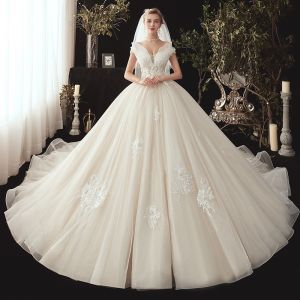 Chic / Beautiful Ivory Wedding Dresses 2020 Ball Gown Off-The-Shoulder Short Sleeve Backless Glitter Organza Appliques Lace Beading Chapel Train Ruffle