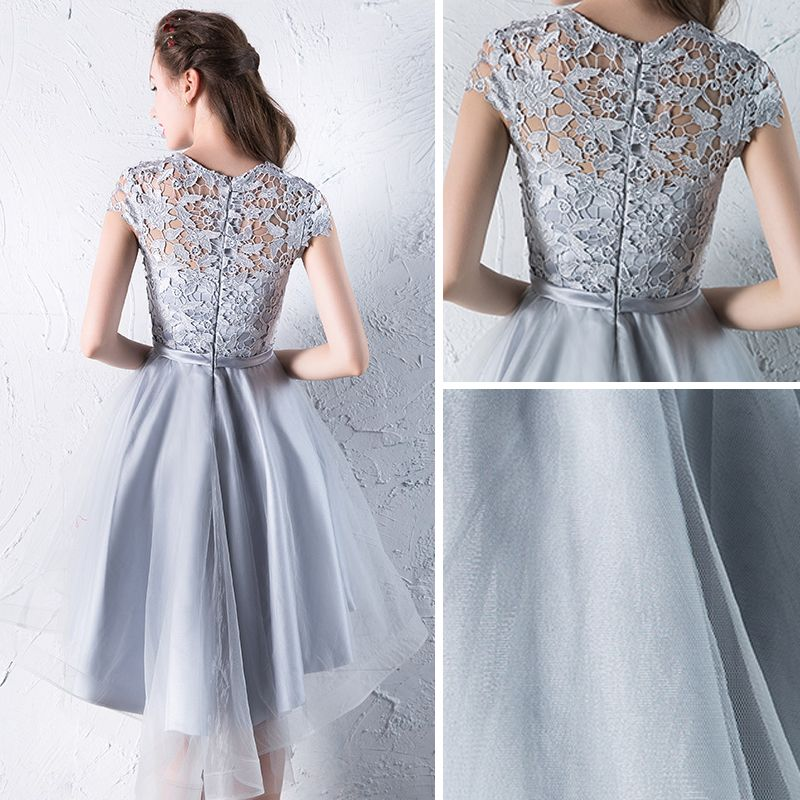Affordable Hall Formal Dresses 2017 Graduation Dresses Silver Asymmetrical A-Line / Princess Bow Sash Cascading Ruffles Scoop Neck Short Sleeve Lace Appliques