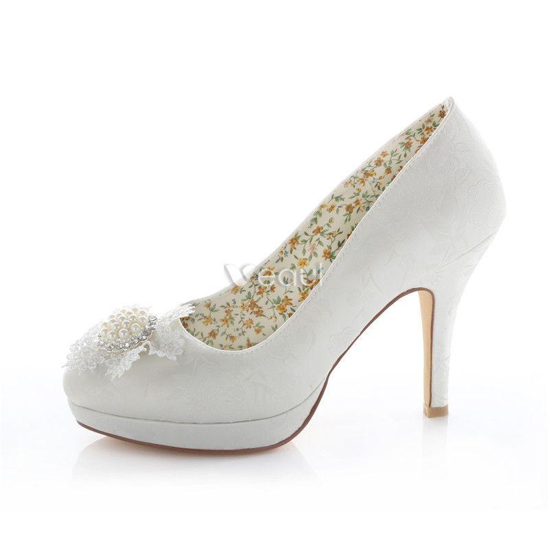 Elegante Elfenbein Brautschuhe Satin Stilettos Pumps Mit Perlen Perlen