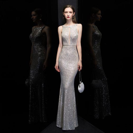 Fashion Silver Sequins Evening Dresses  2020 Trumpet / Mermaid Square Neckline Sleeveless Floor-Length / Long Backless Formal Dresses