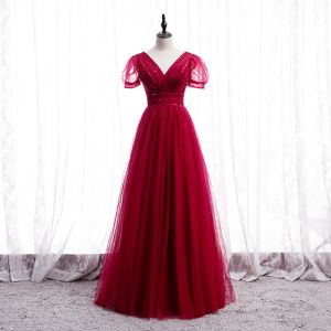 Chic / Beautiful Red Dancing Prom Dresses 2020 A-Line / Princess V-Neck Puffy Short Sleeve Beading Floor-Length / Long Ruffle Backless Formal Dresses