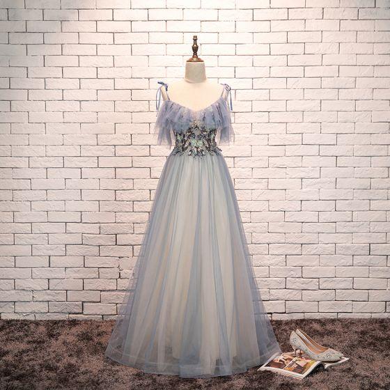 Encantador Azul Cielo Vestidos de noche 2019 A-Line / Princess Spaghetti Straps Bowknot Perla Con Encaje Flor Manga Corta Sin Espalda Vestidos Formales